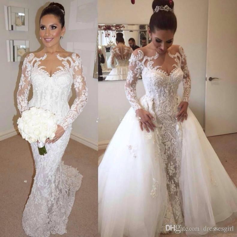 Винтаж Стивен Халил полный кружева свадебные платья со съемным поезд иллюзия шеи арабский свадебное платье Свадебные платья