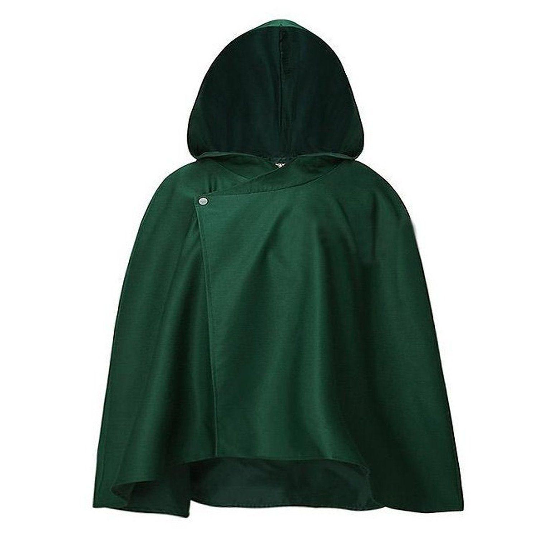 Shingeki unisex manica lunga senza mantello mantello Kyojin abbigliamento verde intenso