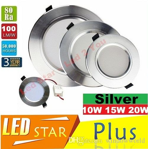 Srebrny korpus 10 W 15W 20W LED Downlights Znaczne światła sufitowe 120 Ściemniane Światła LED LED LED 110-240V z kierowcami CE ul