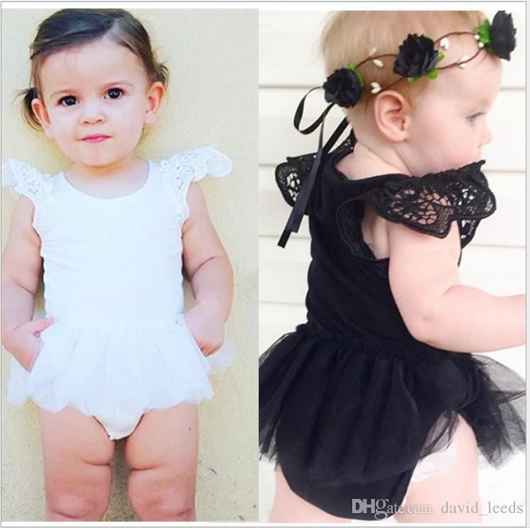 2016 New Summer Baby Girl Lace Rompers Infant Lace Tulle Tutu Skirt Onesies Toddler Babies Jumpsuits Newborn Sleeveless One-Piece 4pcs/lot