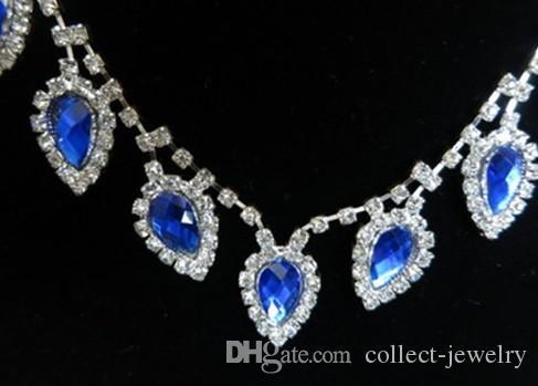 белый кристалл синий невесты свадебный комплект ожерелье серьги yhhfh