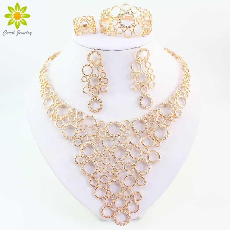 Set di gioielli per le donne accessori per feste 18 k placcato oro perline africane collana orecchini bracciale anelli da sposa