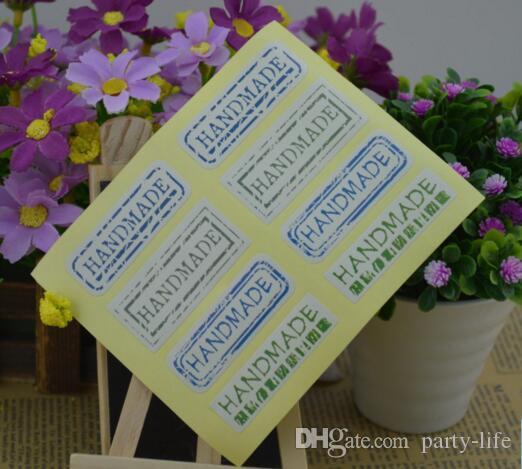 "500sheets (5000pcs) ""Hand Made"" Design Rechteck Aufkleber Aufkleber dekorative DIY Geschenk Aufkleber Cookie Siegeletikett"