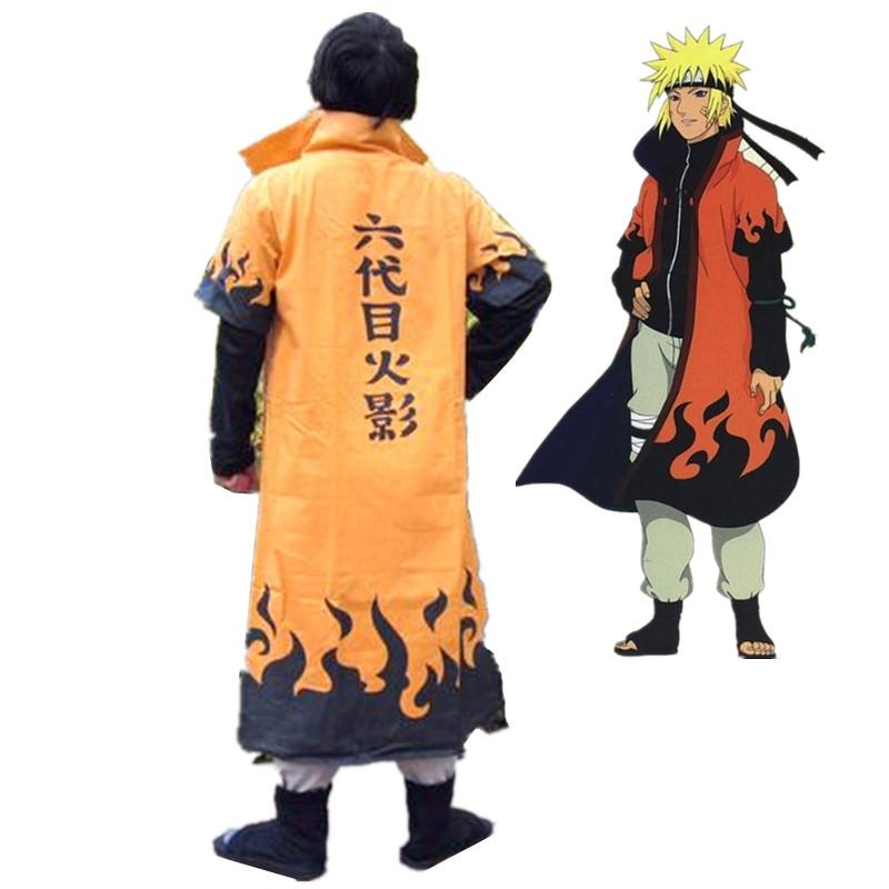 Anime Naruto Cosplay Costumes Six Yondaime Hokage Namikaze Minato Cloak Hatake Kakashi Naruto Cape Outfit onesies Free shipping