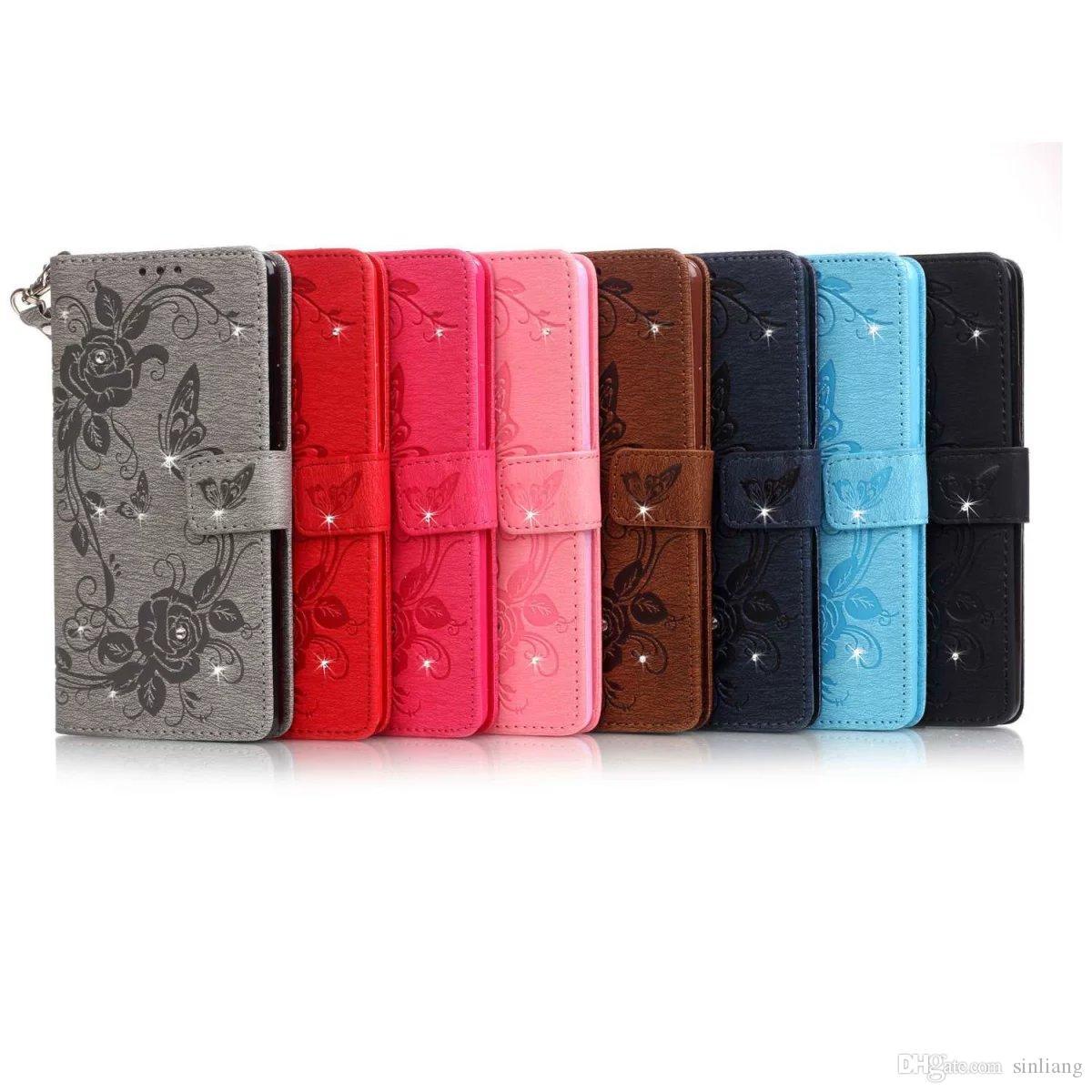 Custodia a portafoglio per Custodia Custodia in pelle con fiore per farfalle a forma di Iphone 7 Custodia a rilievo Custodia in pelle per carte con custodia per iPhone 5,6,7