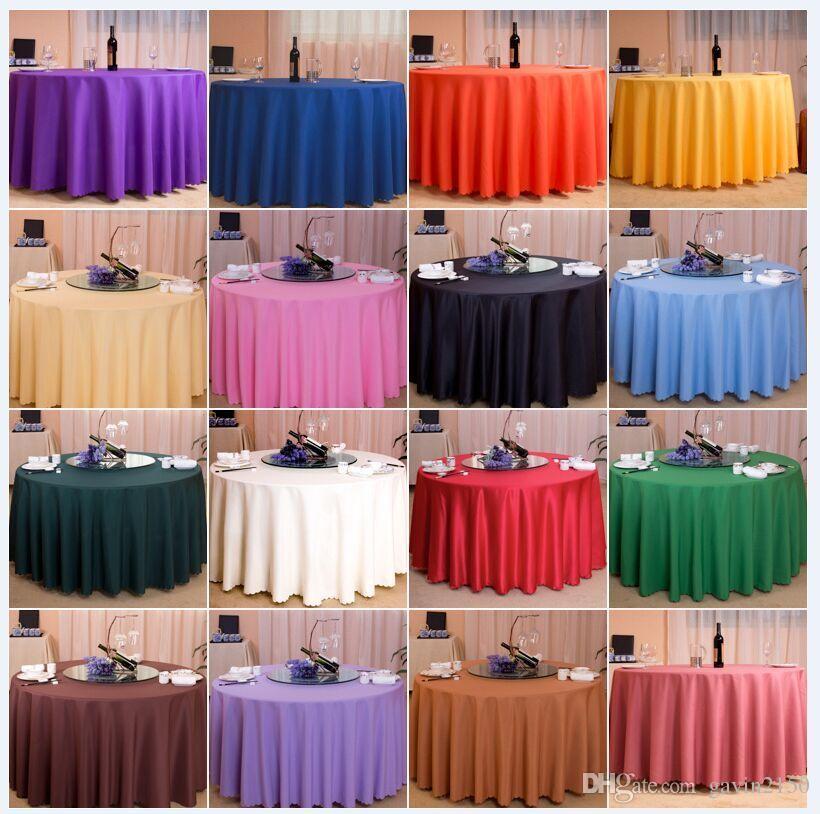 Solida rotonda di colore di trasporto 10pcs 108inch 100% Poliestere Copertura Tavolo Tovaglia per la decorazione di nozze banchetto del partito
