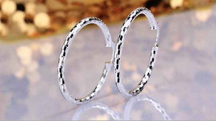10pairs / lot de bijoux de haute qualité placage 925 cadeaux en argent sterling mode de boucles d'oreilles oreille 40mm Snakeskin hyperbole grand anneau d'oreille