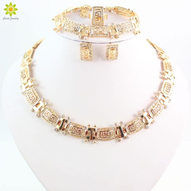 Latest New Charms Gold Plated Rhinestone Necklace Bracelet Earring Rings For Women Bridal Wedding African Jewelry Sets