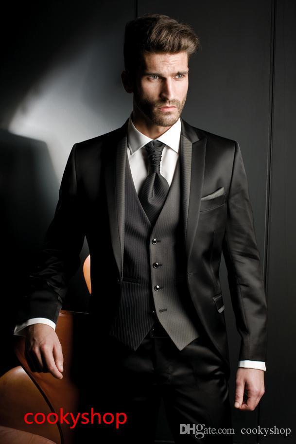2021Custom fez noivo smoking preto ternos formais casamento terno terno terno terno (jaqueta + calça + colete) noivo terno bonito