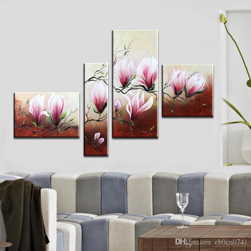 Moderne handgefertigte 4 teile / satz abstrakte wandkunst floral ölgemälde auf leinwand für wohnzimmer dekoration
