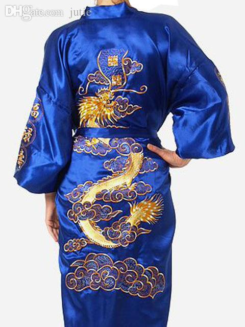 Wholesale-Plus Size Chinese Men Embroidery Dragon Robes Traditional Male Sleepwear Nightwear Kimono With Bandage Silk Satin for women Men