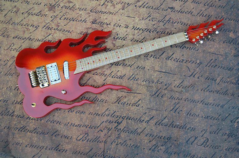 Flame guitare électrique sur mesure sac mail spécial guitare