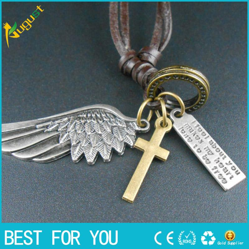 Antique Vintage Angel Wing Mens and Women Leather Necklace Charms Pendants A9021