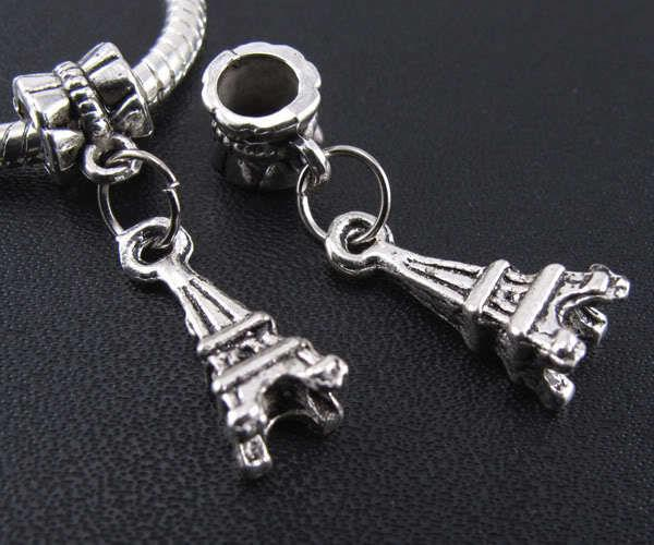 100pcs tibétain argent tour charmes pendentif pendentifs perles bracelet européen 27mm