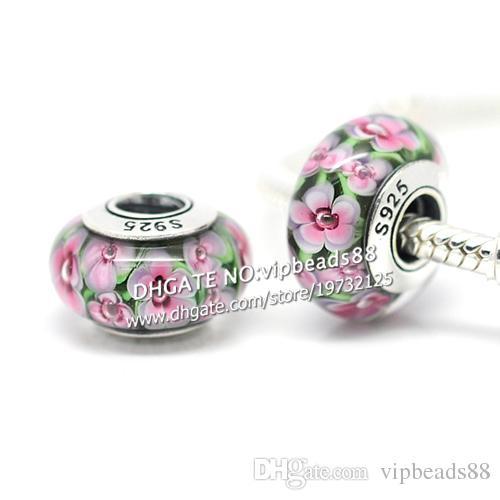 S925 gioielli in argento sterling fiori rosa perline in vetro di murano misura europeo fai da te braccialetti con ciondoli pandora collana 222
