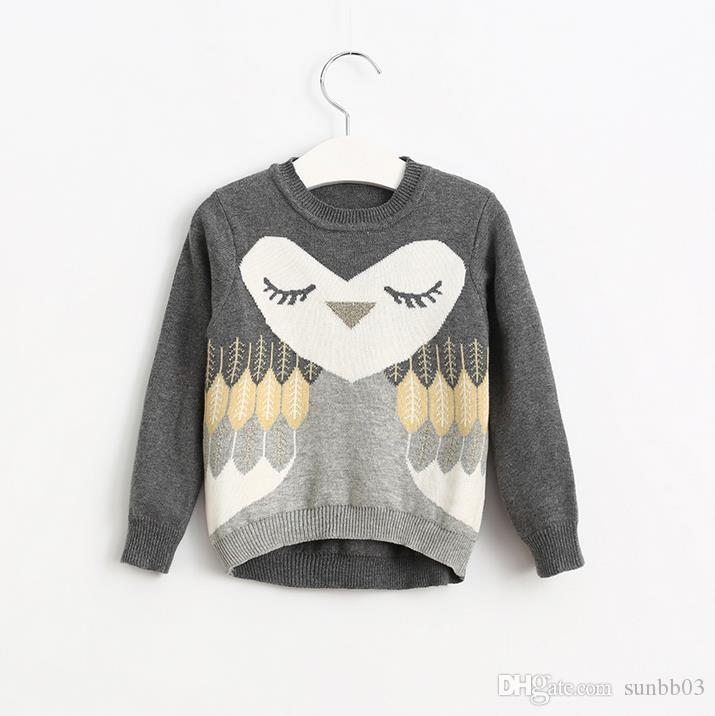 Autumn Winter Girls Sweater Kids Long Sleeve Owl Knitted Pullovers