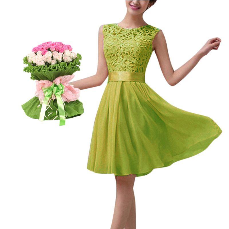 Al por mayor-Plus Size S-5XL Nuevo 2016 Mujeres Vestido de fiesta de encaje de verano Sin mangas Elegante gasa Princesa Hasta la rodilla Vestidos Vestido De fiesta
