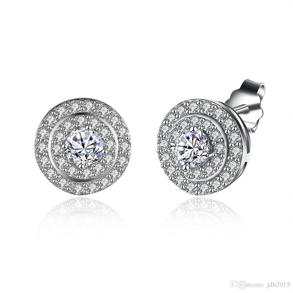 10MM 925 Sterling Silver Round Cubic Zirconia Halo Stud Earrings