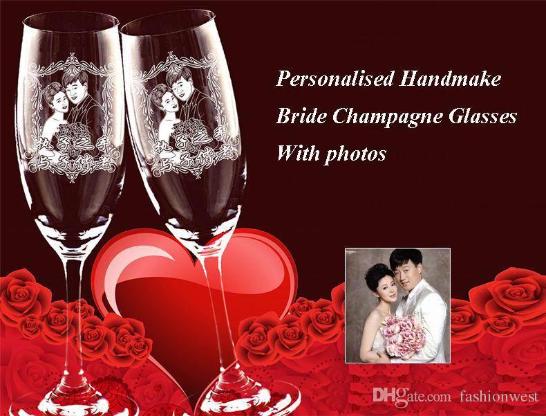 Kişiselleştirilmiş Gelin Şampanya Kadehleri Kişiselleştirilmiş Kazınmış Şampanya Flütleri (2 set) Mr Mrs Düğün - Fotoğraf olarak Glassware Handmake