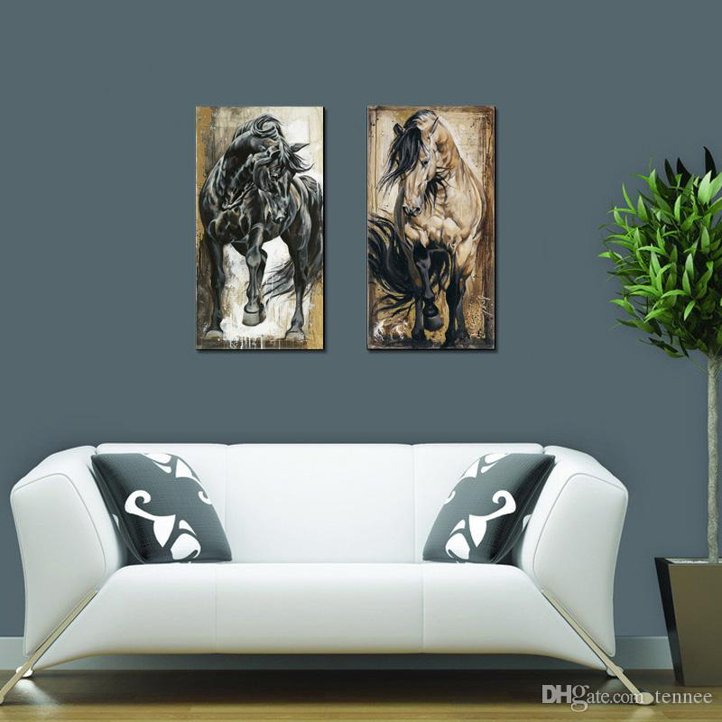 Wall Prints Pictures For Living Room Decoration 2 pcs Modern Canvas Paintings Abstract Pop Black Horse Animal Oil Painting Printed No Frame