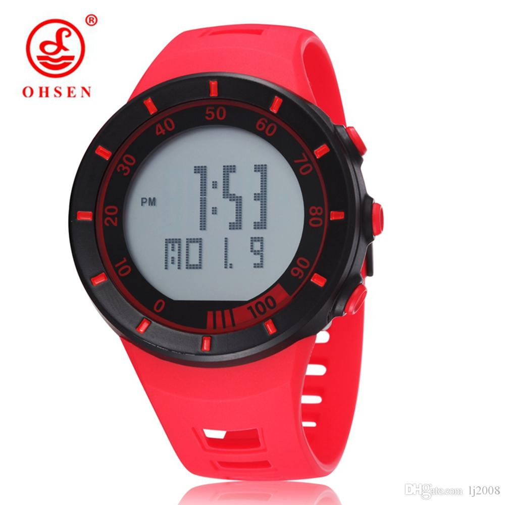 2017 New arrival OHSEN digital Man Mens watches Waterproof Outdoor watches sports watches red fashion design wristwatches for Hombre git