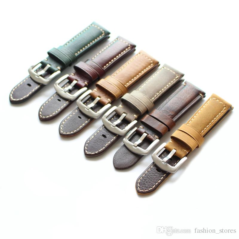 22mm 20mm Stitch Genuine Leather Bands Watch Strap With Steel Buckle Green Wine Brown Grey Coffee 2pcs/Lot