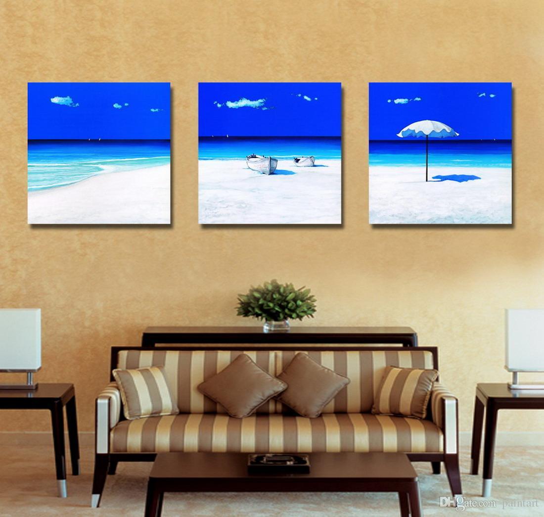 Beautiful Seascape Sandbeach Picture Giclee Print On Canvas Home Wall Decoration Set30039