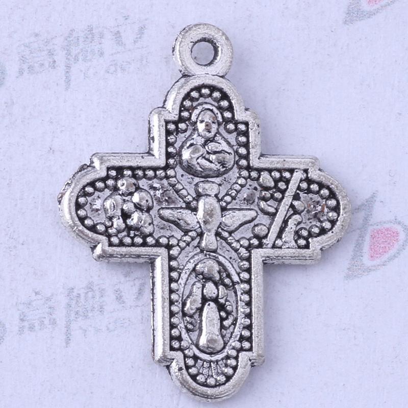 Ydlsp 24.2 * 19mm Croix Pendentif argent antique / alliage de bronze zinc Bracelets Fit Collier 200pcs / lot 3421