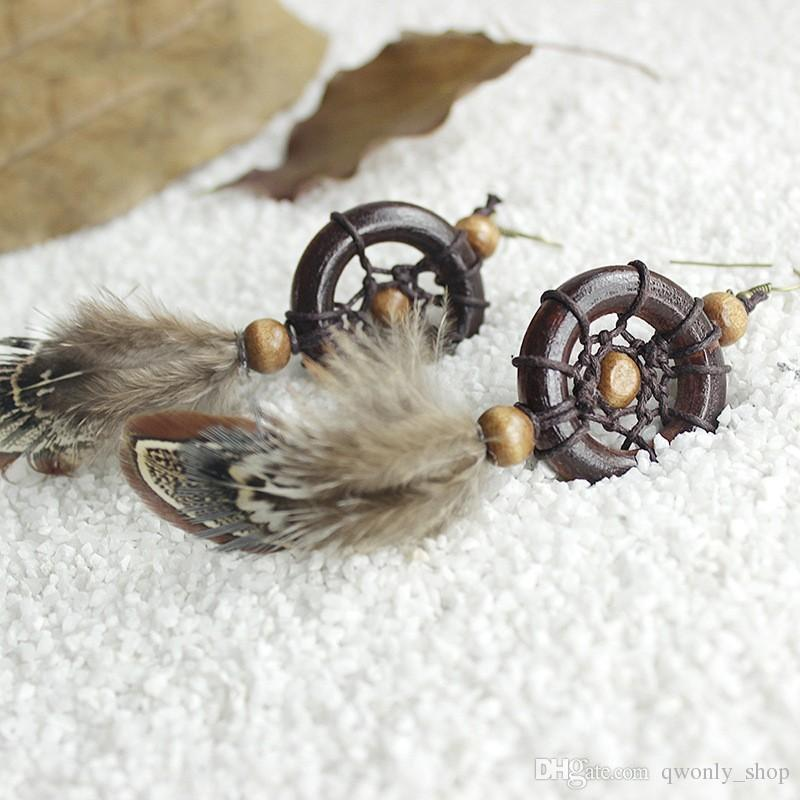 Handgemachte Dreamcatcher Feder Ohrringe Vintage Braun Holz Anhänger Haken Baumeln Ohrringe Traumfänger Für Frauen Modeschmuck