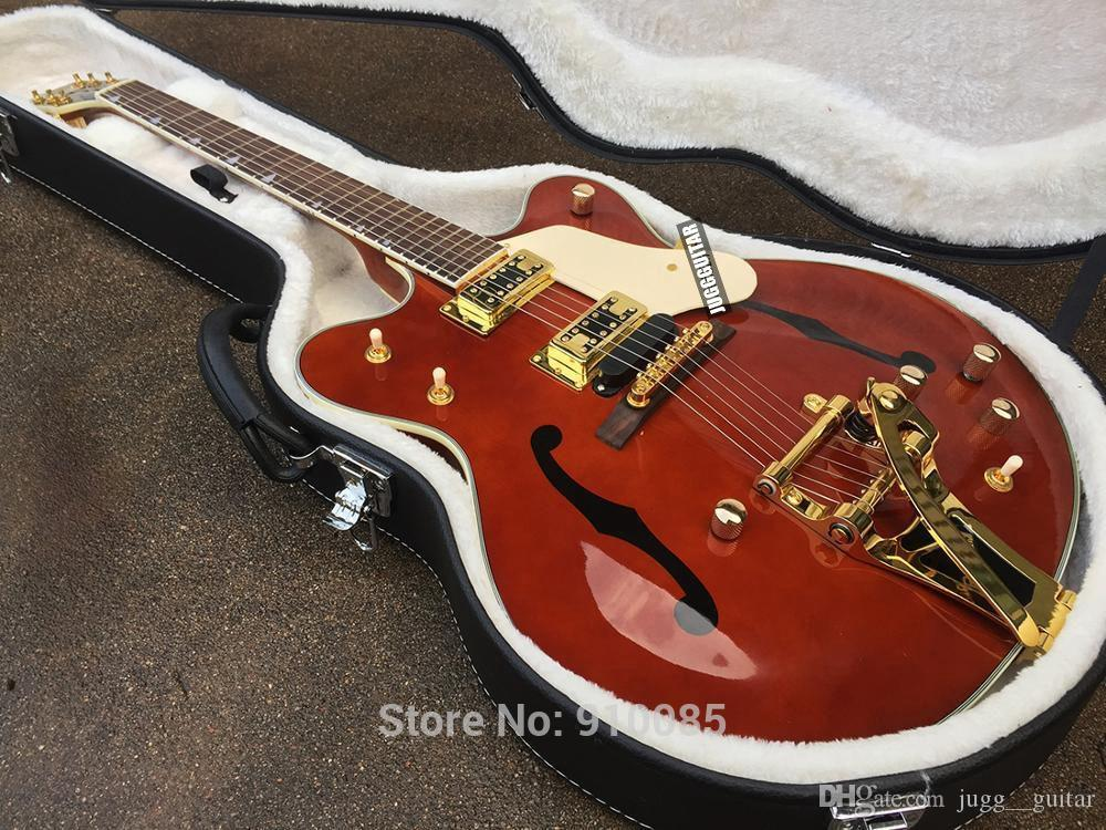 사용자 정의 가죠 G6122-1962 브라운 쳇 앳킨스 나라 재즈 세미 할로우 바디 브라운 일렉트릭 기타 빅스 트레몰로 브릿지 골드 하드웨어 드롭 배송