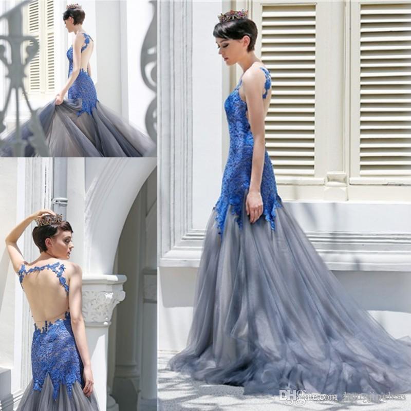 A-line blu applique tulle in pizzo abiti da ballo senza maniche sweep train fomal abiti da sera Pageant Abiti da ballo formale abito del partito di promenade
