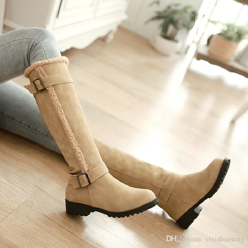 Kış Boyutu Tasarımcısı Tan için 41 42 43 Moda Kadınlar 34 Yüksek Artı 40 Çizmeler ayakkabı ile Khaki Siyah Gel Kürk Diz Kutusu UXLMG