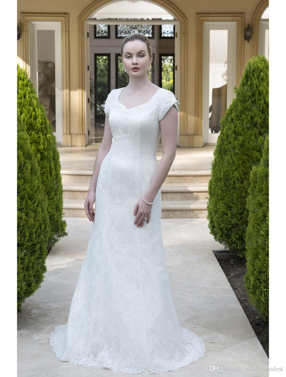 New Simple Lace Modest Wedding Dresses With Tulip Cap Sleeves Queen Anne Sweetheart Neckline Buttons Over Zipper Back Lds Bridal Gown Dresses Coloured