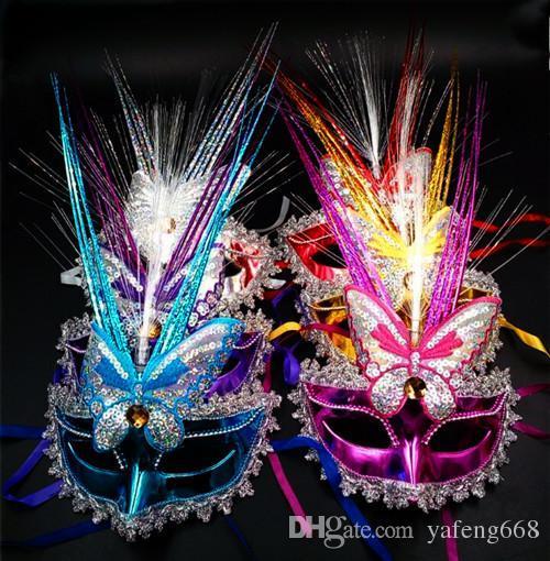 Festa de brinquedos infantis atacado Colorido LED Pavão Primavera máscara de chuva masquerade máscaras do partido por atacado adulto artista do sexo feminino princesa