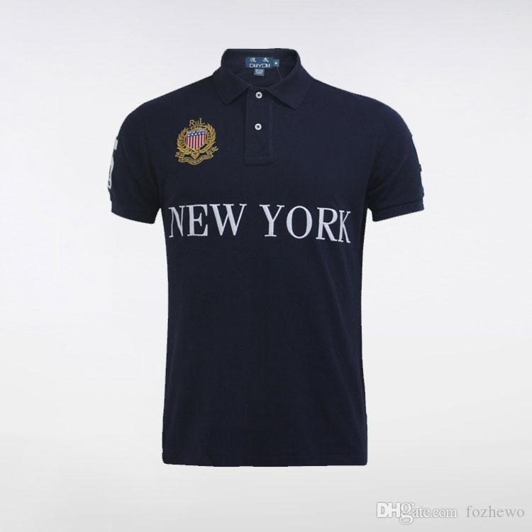 Stadt Serie Polo Top Qualität Großhandel Sommer Heißer Verkauf Poloshirt USA Amerikanische Flagge Marke Polos Männer Kurzarm Sport Polo Mann Mantel Tropfen