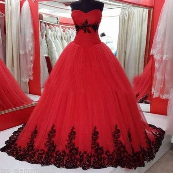 새로운 도착 고딕 웨딩 드레스 푹신한 볼 가운 붉은 색과 검은 색 레이스 Appiques 소프트 얇은 명주 신부 가운 사용자 정의 만든 파티 착용