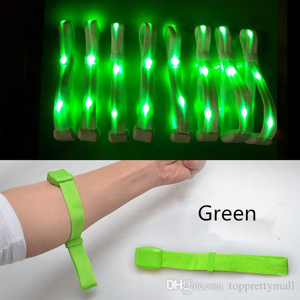 Hot Nylon Creative Watch Flash Wrist Band Glow Luminous Bracelets Fastival Music Party Gifts LED Wrist Strap Safety Light Shine Ribbon