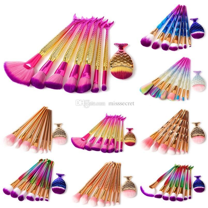 8pcs/set Mermaid Makeup brushes Set Make Up Brush 3D Diamond Colorful Spiral Bling brushes Fundation Powder Cream Blush Glitter Brush Kit