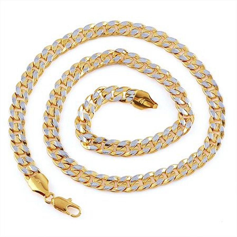 2-Tone Gold Filled Curb cadena collar para hombres fiesta cumpleaños 24 pulgadas
