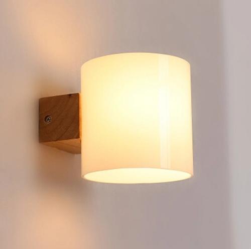 Acquista Applique A LED In Legno Massello Moderno Semplice Applique Lampada  Da Parete Comodino Camera Da Letto Domestica Illuminazione Interna ...