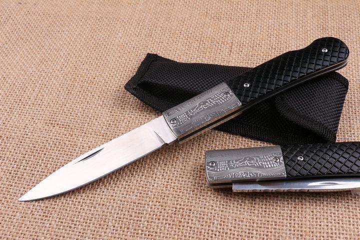 New EDC Pocket Folding Blade Knife 440C 58HRC Satin Finish Blade knife Outdoor Camping Hiking Rescue knives Lock Back
