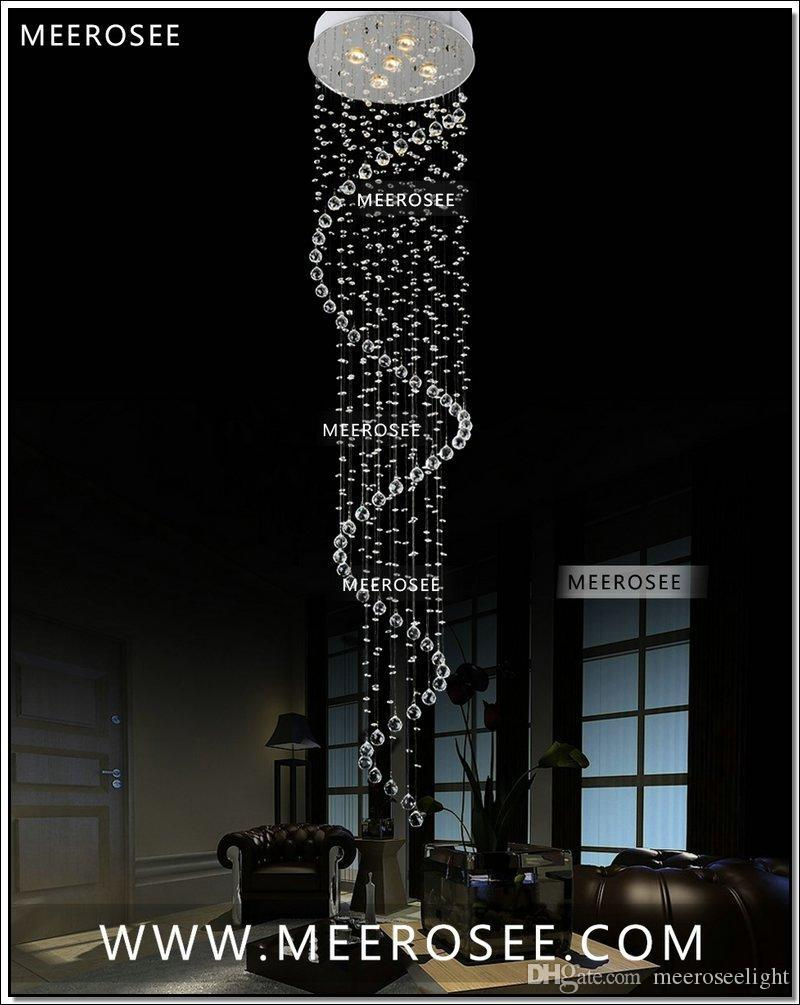 Wholesale Crytal Chandelier Retail Long Spiral Crystal Ceiling Light / Lamp / Lighting Fixture for Stair / Foyer/ Hallway Ready Stock