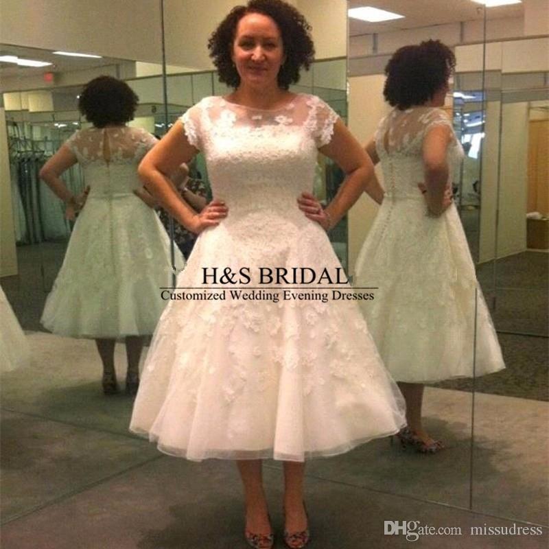 Новый Arrilval Vintage с коротким рукавом белое аппликация с коротким кружевом свадебное платье свадебное платье robe de mariage Vestido de noiva