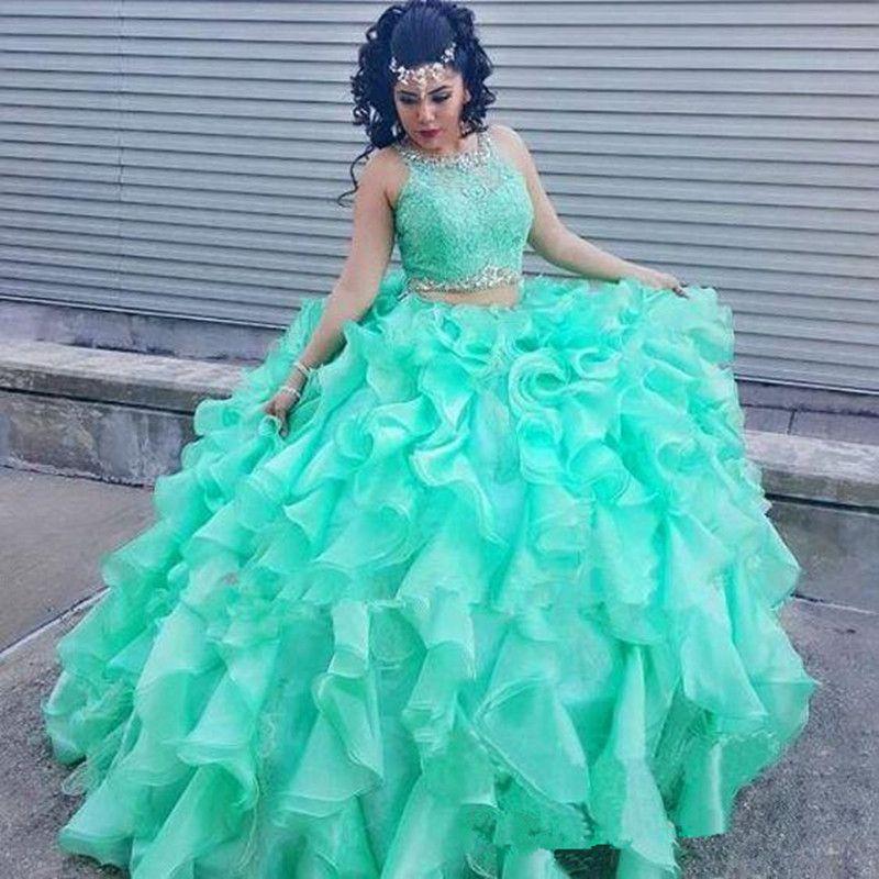 2 pezzi verde menta abito Quinceanera ball gown senza maniche gioiello collo in rilievo di pizzo volant organza fashion design prom abiti personalizzati
