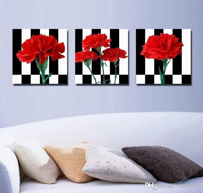 Beautiful Red Carnation Flower Painting Giclee Print On Canvas Home Decor Wall Art Set30290
