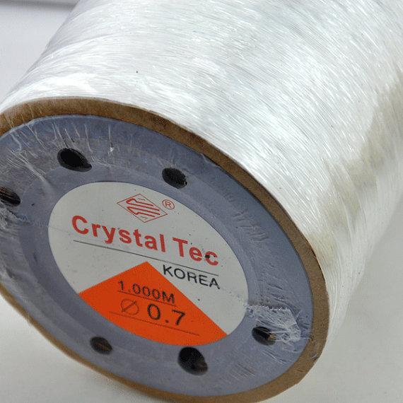 0.7mm --3200 pies (1000 metros) - Cordón elástico de cristal de Corea para pulsera de bricolaje, collar, cable de cuerda elástica, cordón elástico de cristal