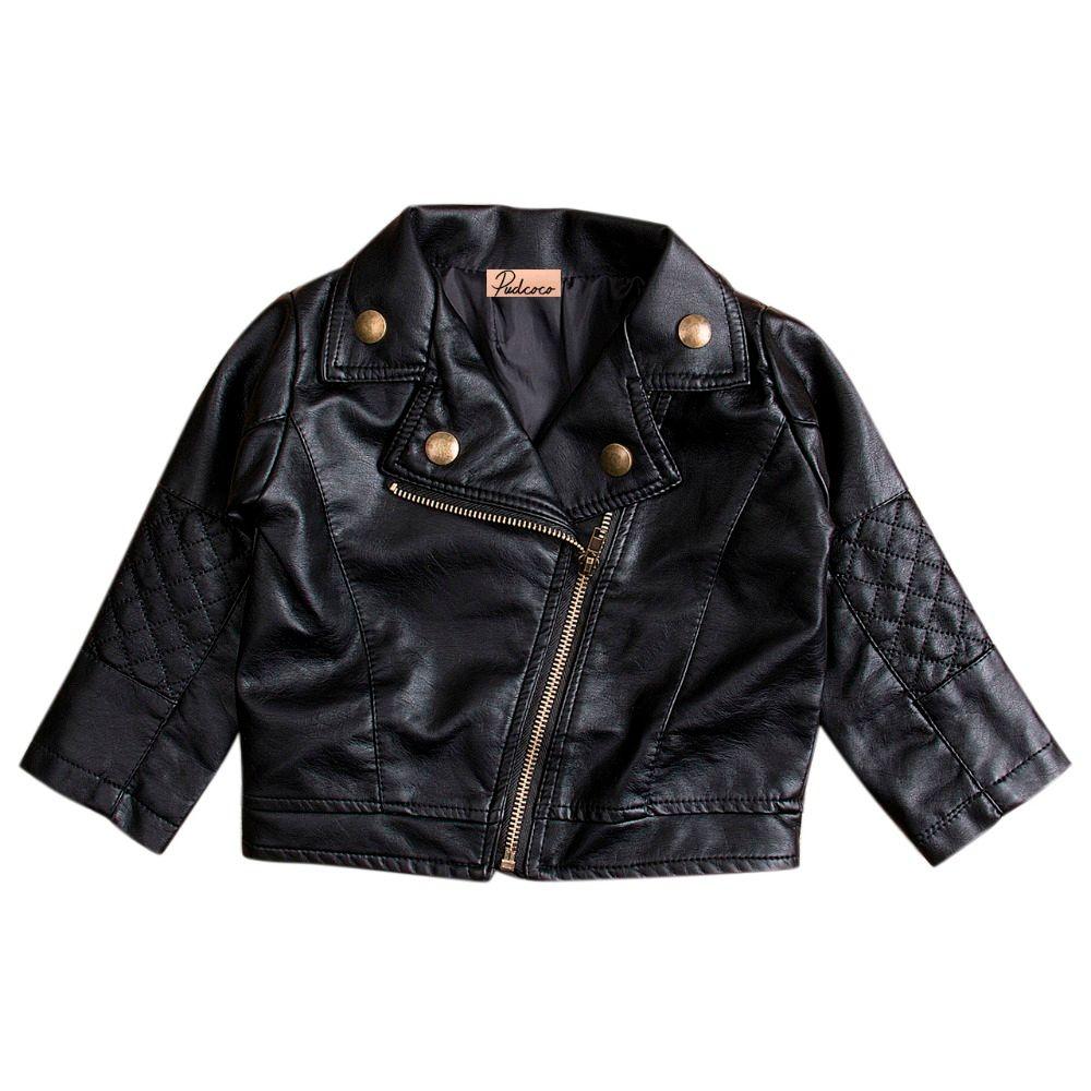Newest Kids Girl Fashion Motorcycle PU Leather Jacket Biker Coat Overcoat Black