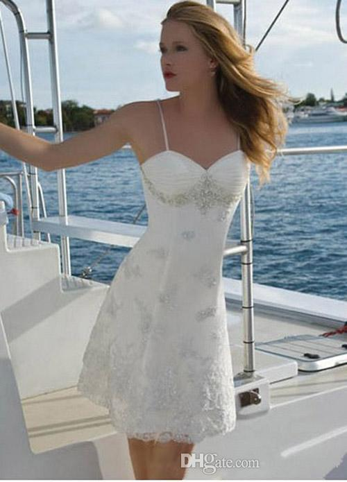 Discount Short Beach Wedding Dresses 2016 Spaghetti Straps Corset ...