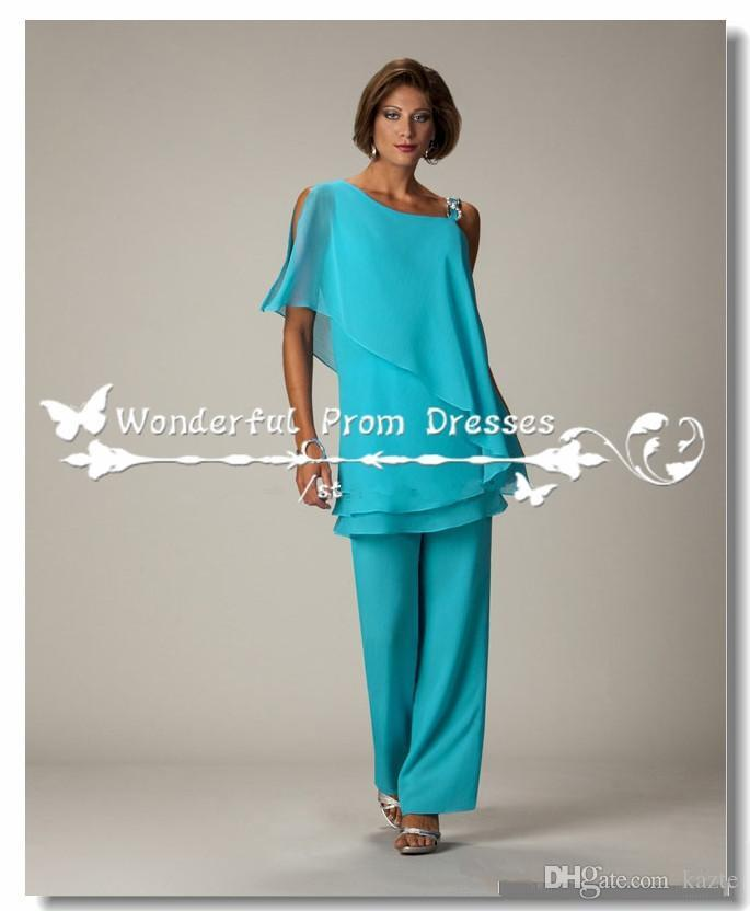Teal Blue Chiffon Mother Of The Bride Pant Suits Custom Made Cheap Women Formal Evening Outfits Ladies Trousers Suit Plus Size