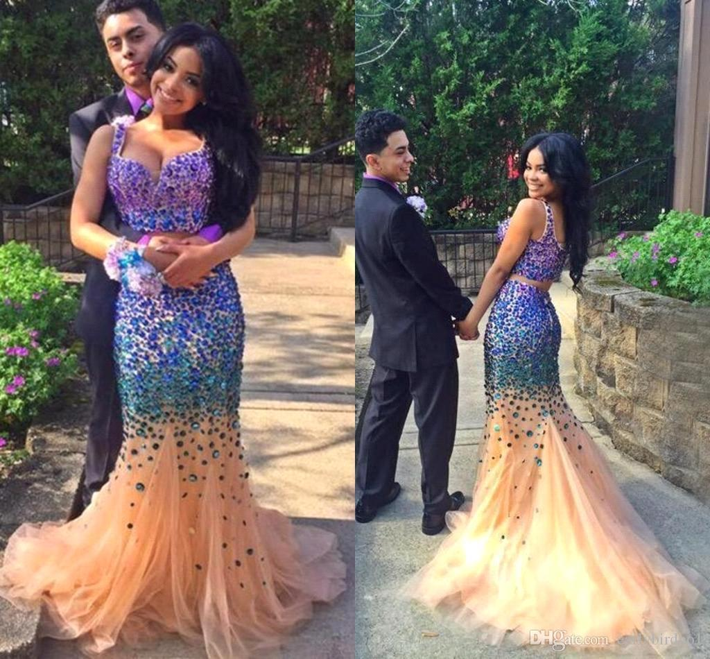 Sexy Black Girl Two Pieces Prom Dresses 2017 parejas moda espaguetis con diamantes de imitación sirena tribunal tren Crystal vestidos de noche formales